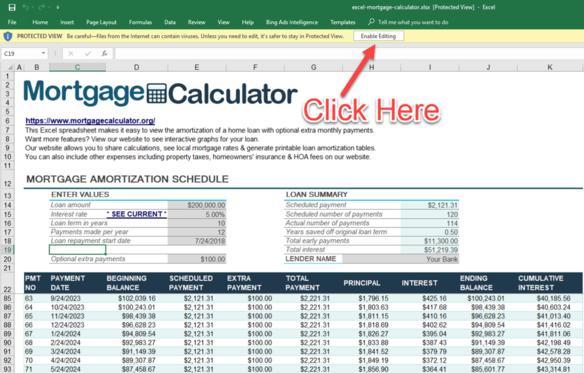Calculation of auto excel financing